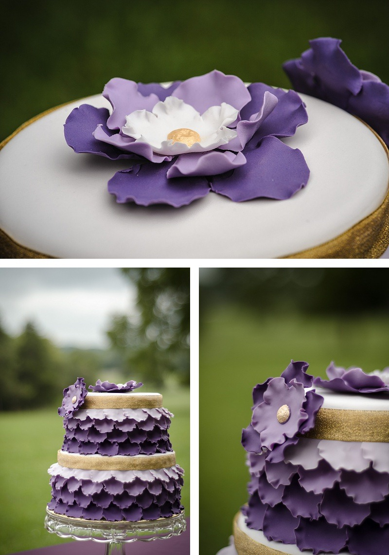 Lavender and gold weddng cake