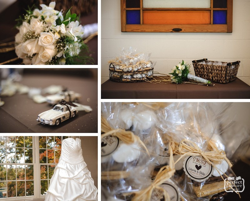 Wedding details: bouquet, ringbearer, favors, dress