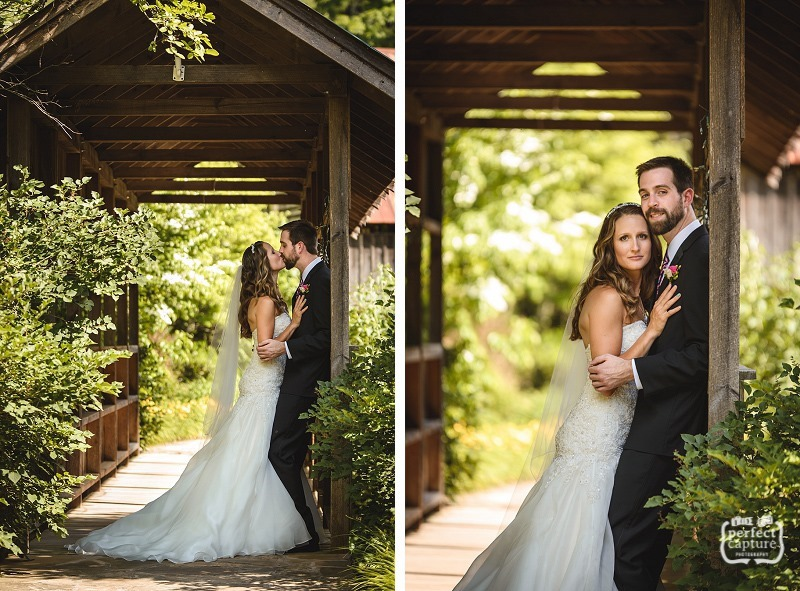 covered bridge wedding portrait