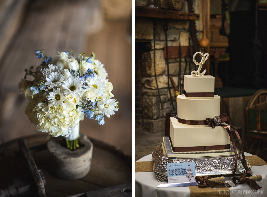 Brown and ivory wedding cake