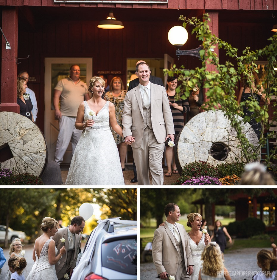 Candid wedding exit