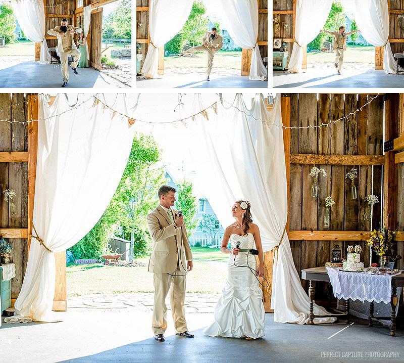 The bride and groom make a big entrance!