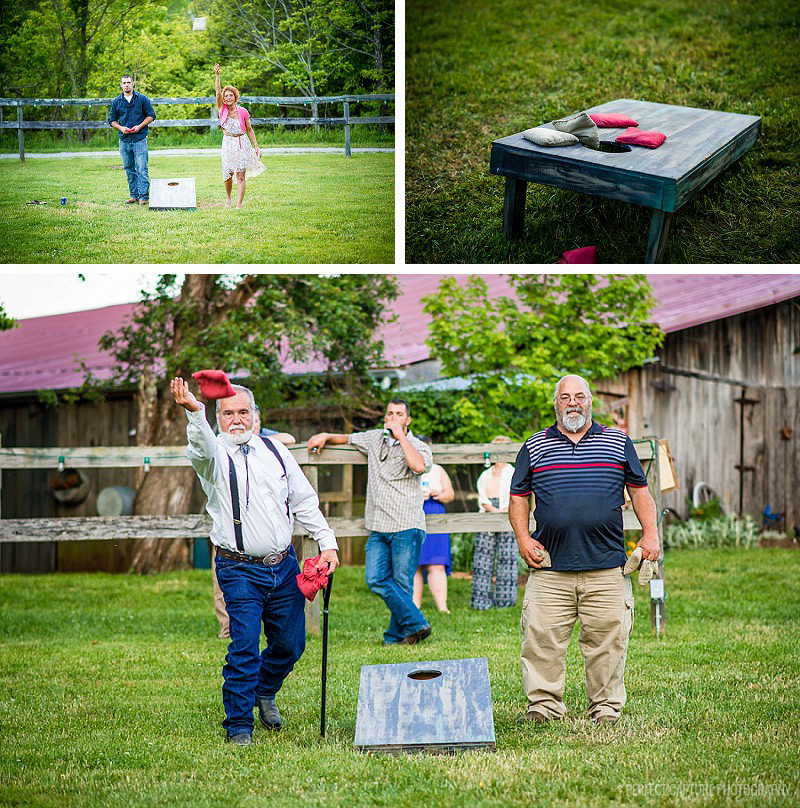 Cornhole during the reception
