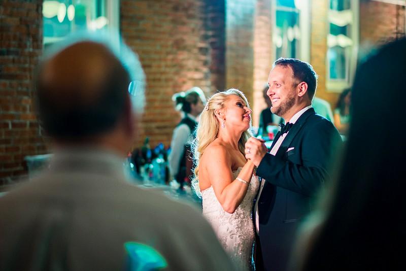 bride and groom dancing