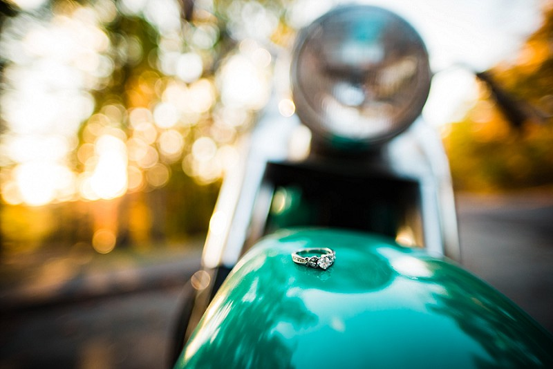 Engagement ring on motorcycle