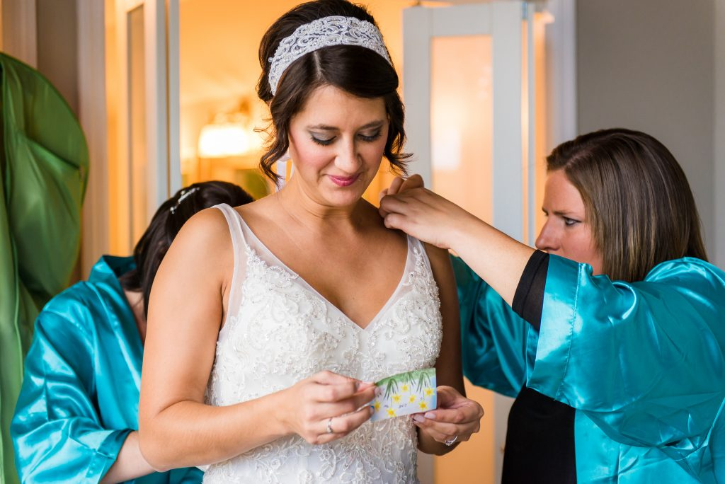 bride reading note from groom